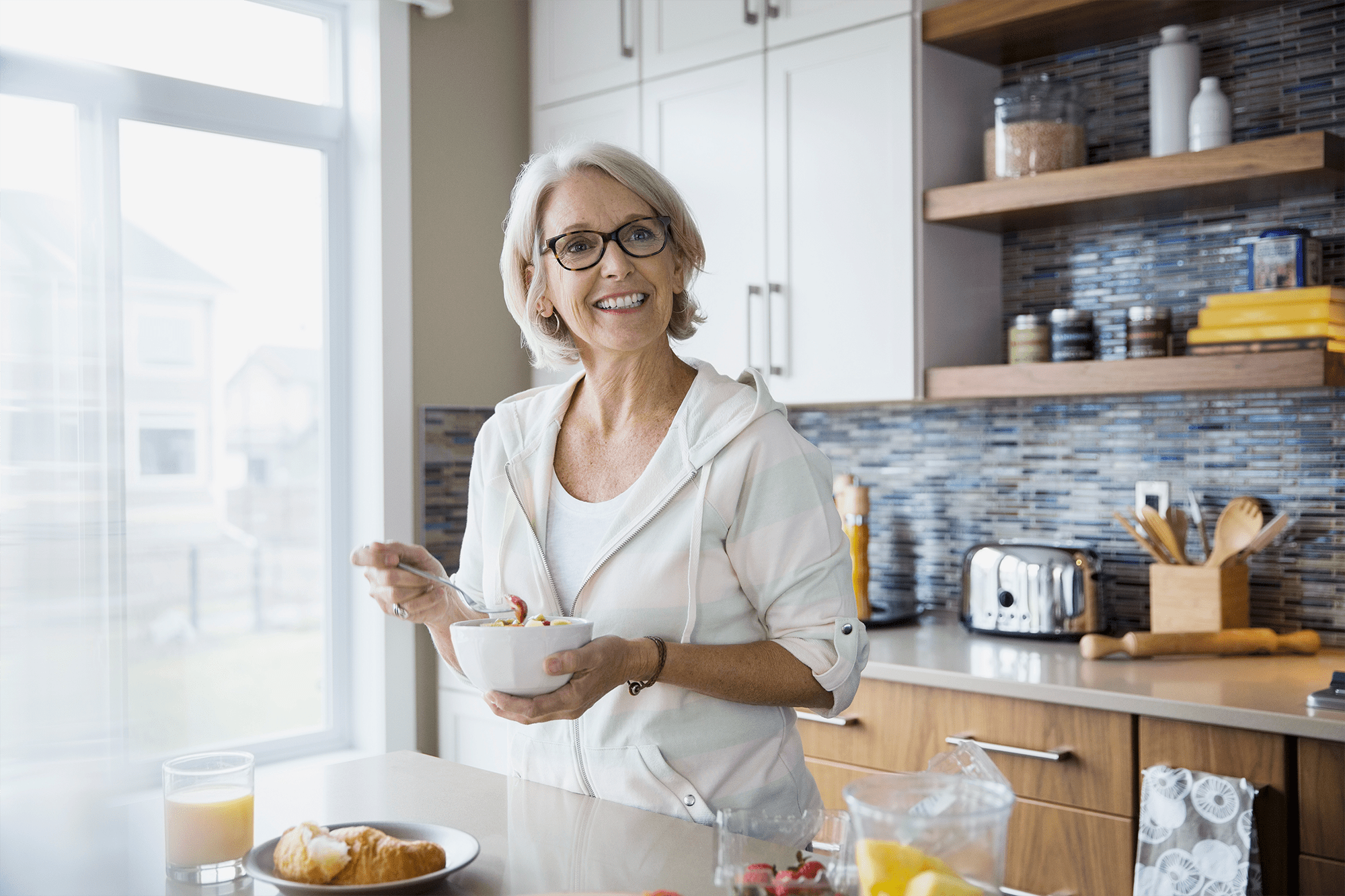 middle aged woman eating